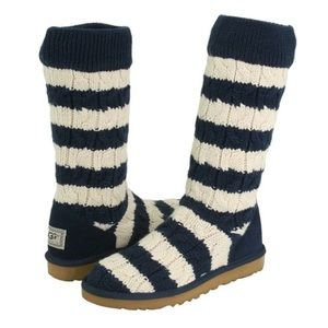 Ugg striped black white cable knit tall boots